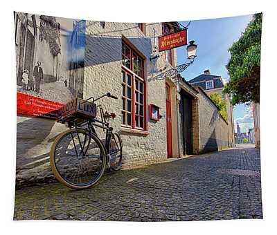 Lux Cobblestone Road Brugge Belgium Tapestry
