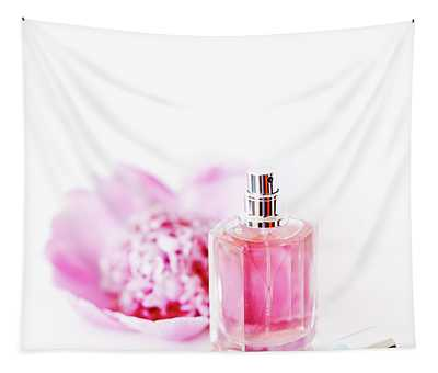 Luxury Perfume Bottle And Pink Peony Flower Isolated On White Ba Tapestry