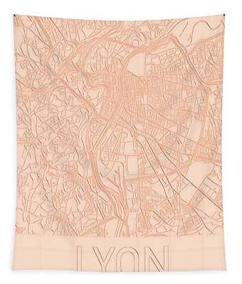Tapestry featuring the digital art Lyon Blueprint City Map by Helge