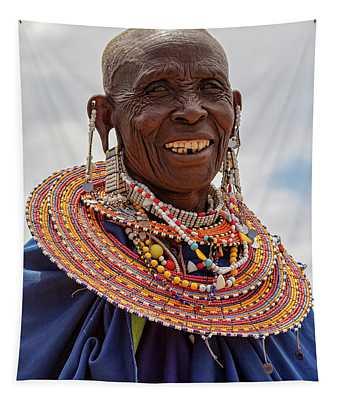 Maasai Woman In Tanzania Tapestry