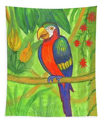 Macaw Parrot In The Wild Tapestry