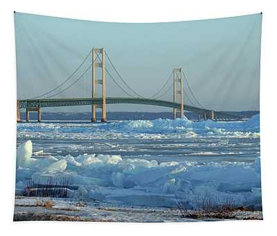 Mackinac Bridge In Ice 2161801 Tapestry