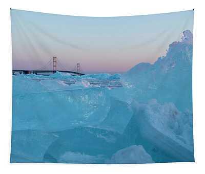 Mackinac Bridge In Ice 2161805 Tapestry