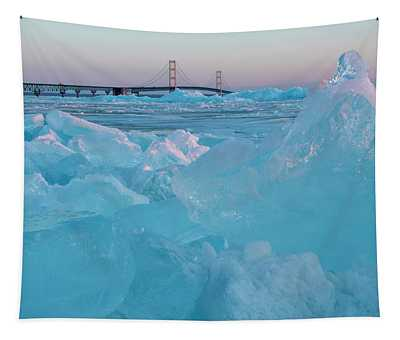 Mackinac Bridge In Ice 2161806 Tapestry