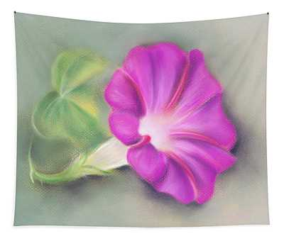 Magenta Morning Glory And Leaf Tapestry
