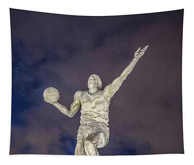 Magic Johnson Statue At Blue Hour  Tapestry