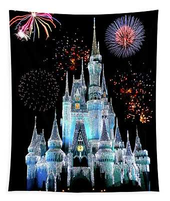 Magic Kingdom Castle In Frosty Light Blue With Fireworks 06 Tapestry