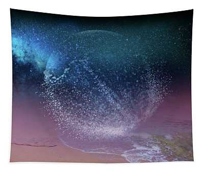 Magical Night Moment By The Seashore In Dreamland 3 Tapestry