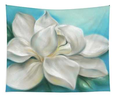 Magnolia Grandiflora Flower On Blue Tapestry