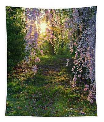 Magnolia Tree Sunset Tapestry