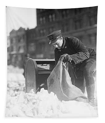 Mailman Collecting Mail From Mailbox After Blizzard, Washington Dc, 1922 Tapestry