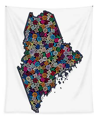 Maine Map - 1 Tapestry