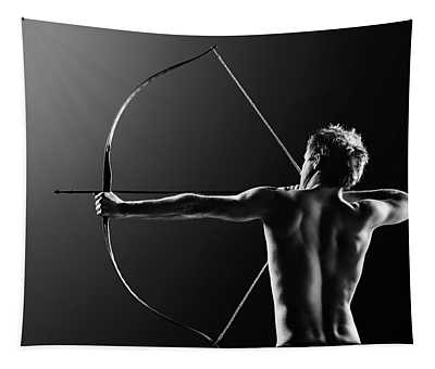 Male Archer Drawing Long Bow Tapestry
