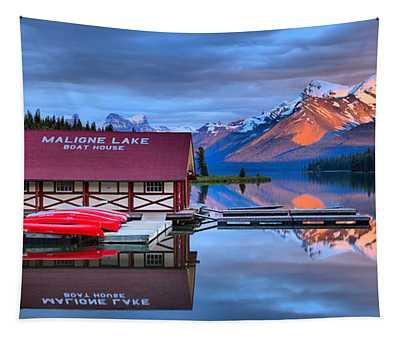 Maligne Lake Sunset Spectacular Tapestry