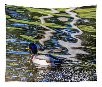 Mallard Reflected In Blue Tapestry