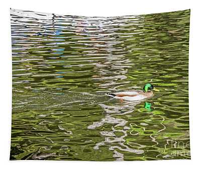 Mallard Reflected With Boat Tapestry
