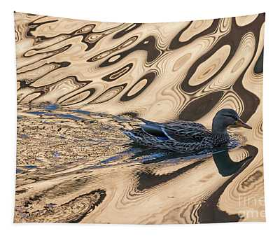 Mallard Reflections In Blue Tapestry
