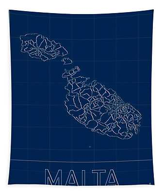 Malta Blueprint Map Tapestry
