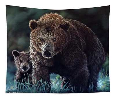 Mama Brown With Cubs Tapestry