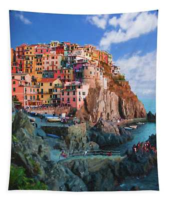 Manarola Italy On The Cliffs Of Cinque Terre Tapestry