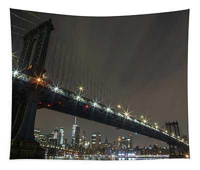 Manhattan Bridge Skyline At Night Tapestry