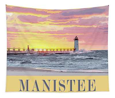 Manistee Pierhead Poster Tapestry