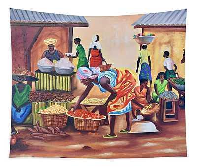 Market Place Scene Tapestry