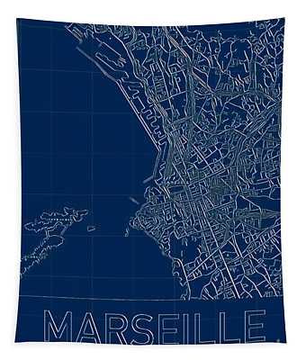 Tapestry featuring the digital art Marseille Blueprint City Map by Helge