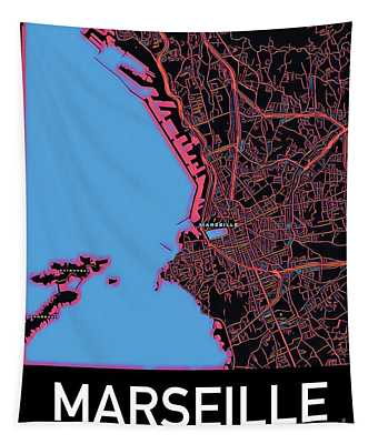 Tapestry featuring the digital art Marseille City Map by Helge