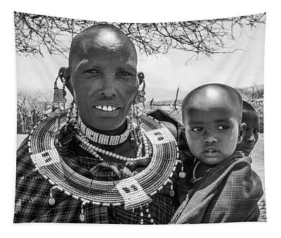 Masaai Mother And Child Tapestry