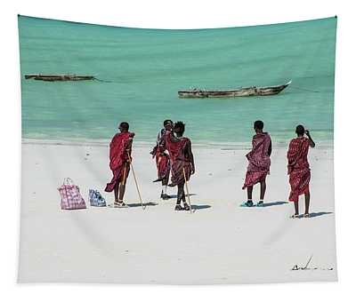 Massai At The Beach Tapestry
