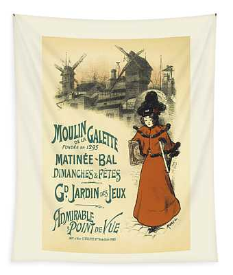Matinee Bal Vintage French Advertising Design Tapestry