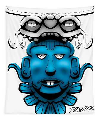 Mayan Blue Mask Tapestry