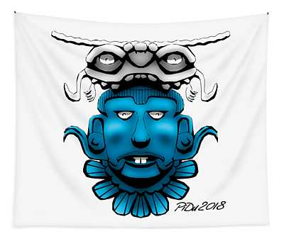 Mayan Blue Mask Tapestry