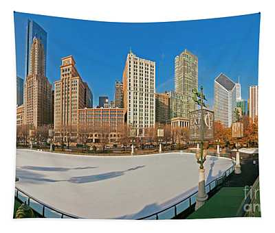 Mccormick Tribune Plaza Ice Rink And Skyline   Tapestry