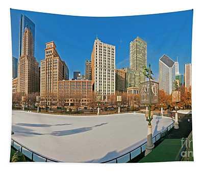 Mccormick Tribune Plaza Ice Rink And Skyline   Tapestry