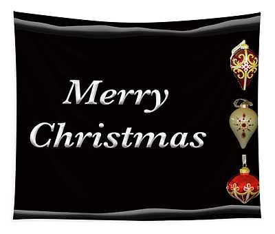 Merry Christmas Ornaments Black Tapestry