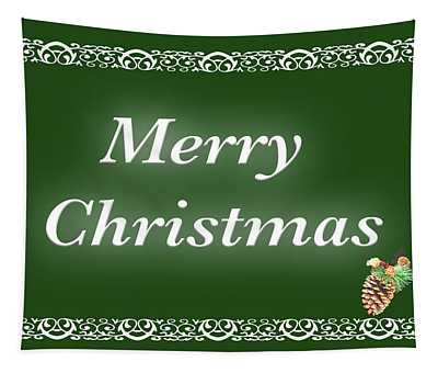 Merry Christmas Pine Cone Green Tapestry