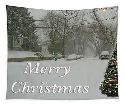Merry Christmas Tree In Snow Tapestry