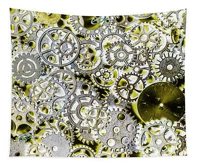 Metallic Motor Mechanisms Tapestry