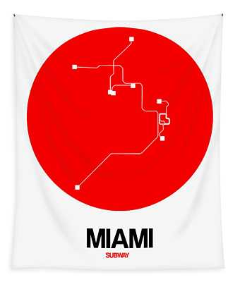 Miami Red Subway Map Tapestry