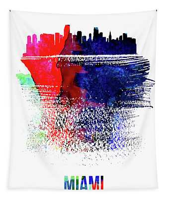 Miami Skyline Brush Stroke Watercolor   Tapestry