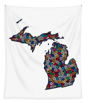 Michigan Map - 1 Tapestry