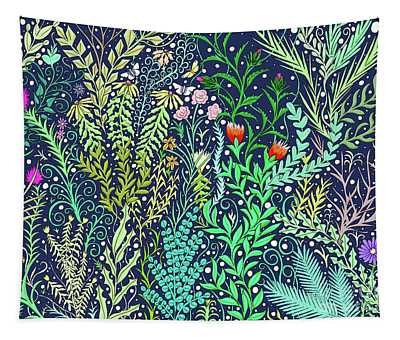Millefleurs At Night Tapestry