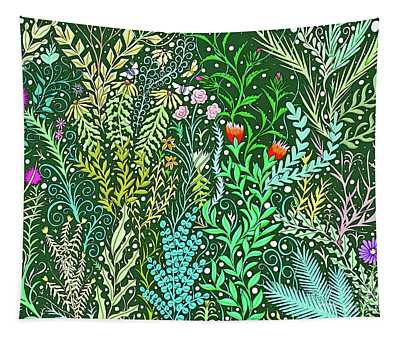 Millefleurs Design With Pink Roses, Black Eyed Susans And Butterflies Tapestry