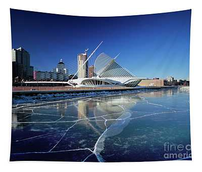 Milwaukee Art Museum By The Frozen Lake Michigan Tapestry