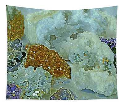 Tapestry featuring the mixed media Mineral Medley 12 by Lynda Lehmann