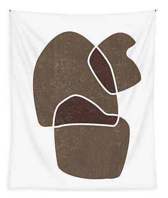 Minimal Abstract 1 - Modern, Contemporary Print - Mid Century Abstract - Brown, White Tapestry