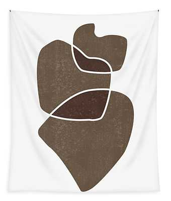 Minimal Abstract 3 - Modern, Contemporary Print - Mid Century Abstract - Brown, White Tapestry