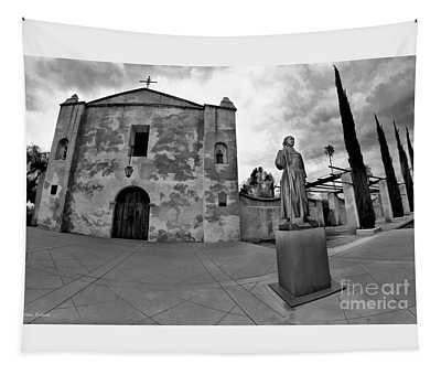 Mission San Gabriel San Gabriel Ca Black And White Tapestry